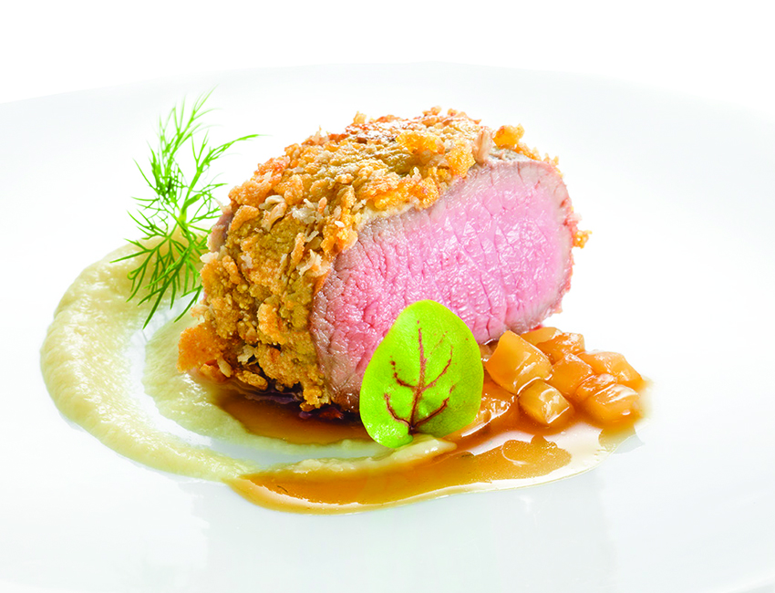 Baby Lamb Loin, Cereal Crust, Fennel and Goat Cheese Pearl - Alto 88 Regal Hongkong 富豪香港酒店Heinz Beck 3 star Michelin guest chef - OKiBook Hong Kong Restaurant Booking