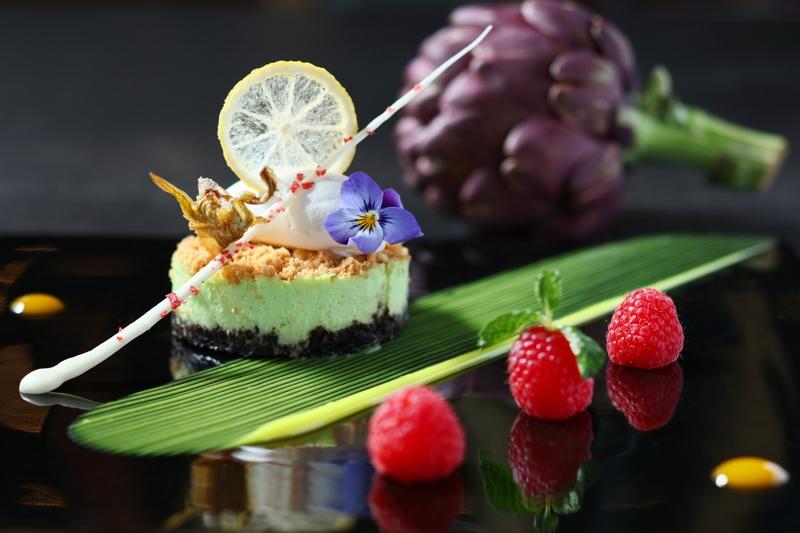 Artichoke Cheese Cake with Chocolate Crunch, Lemon and Mint Sauce 雅枝竹奶酪芝...