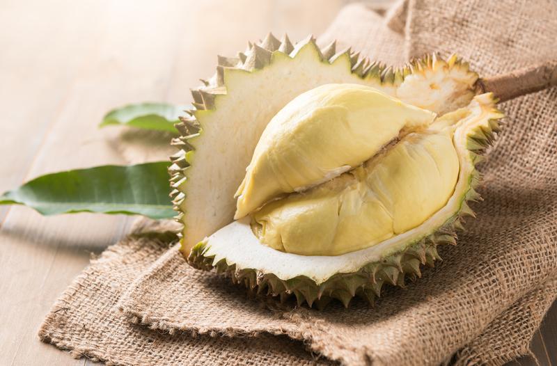 fresh durian on sack, king of fruit