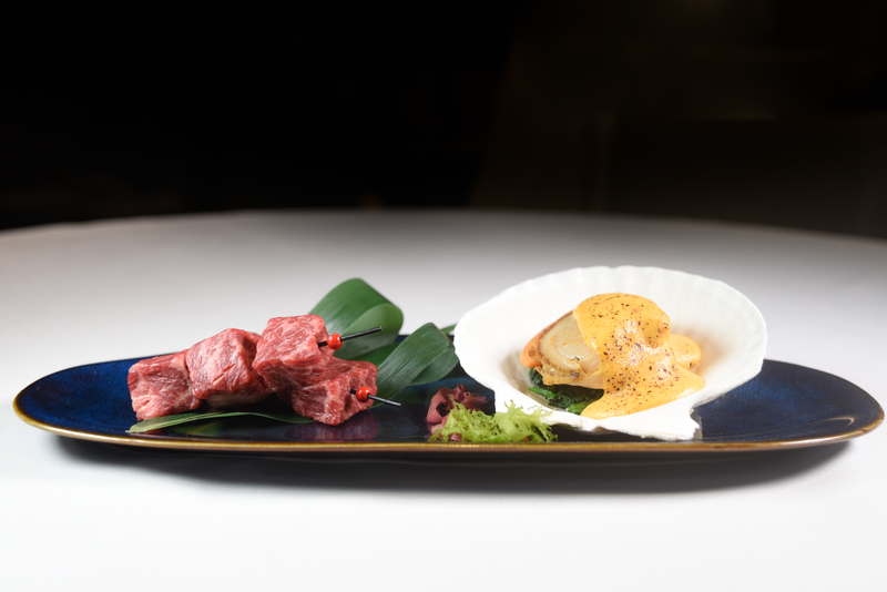 Harbour Restaurant The Harbourview 灣景廳 - 灣景國際 OKiBook Hong Kong Restaurant Booking 自助餐預訂香港 - Pan-fried Wagyu Beef with Garlic and Baked Jumbo Scallop with Sea Urchin One serving per patron
