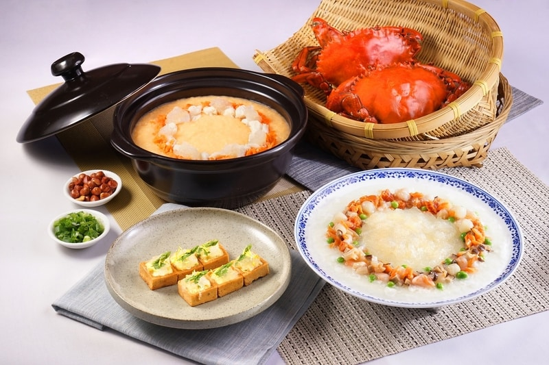 Asparagus Tart with Bird's Nest and Bamboo Pith, Bird's Nest Congee with Crabmeat in Casserole, Bird's Nest with Steamed Egg White, Scallop and Shrimp 燕窩竹笙露筍撻, 燕窩蟹肉砂窩粥, 海皇燕窩翠塘蛋白  2